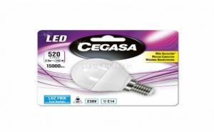 Сферична Led Крушка за Лампа Cegasa E14 6 W A+ Бяла Светлина