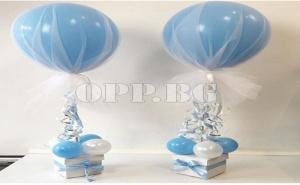Комплект Балони с Тюл (2 Броя с Аксесоари) Сини