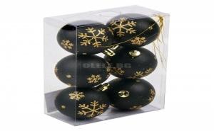 Комплект 6 бр Коледни Топки Черни със Златни Снежинки