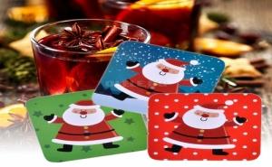 Комплект 6 Броя Весели Цветни Подложки за Чаши Дядо Коледа