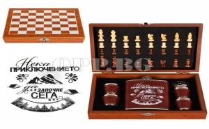 Комплект Кожена Манерка с Чашки и Шах с Аксесоари Нека Приключението да Започне