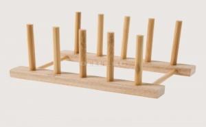 Дървен Органайзер за Кухненски Съдове с Изчистен Дизайн